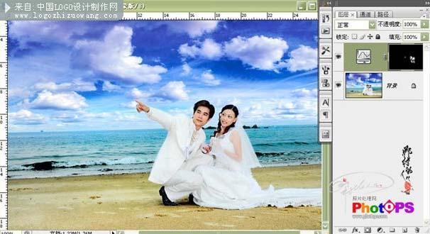 ps背景处理:ps给婚纱照片换上开阔的背景
