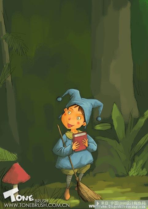 森林儿童插画ps教程