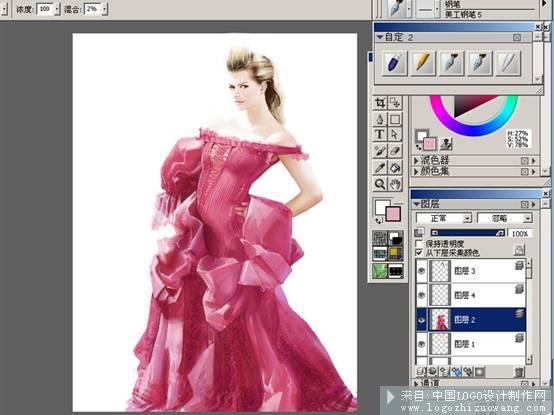 鼠绘教程:电脑手绘红衣模特